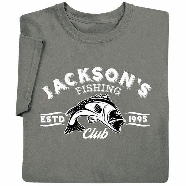 Personalized your name fishing club t shirt at signals for Fishing team shirts