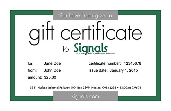 gift certificate email signals ec9999
