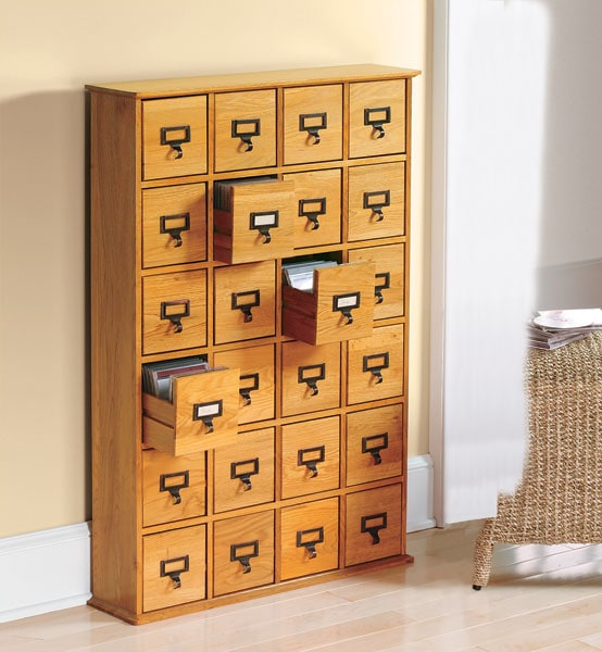 Library Catalog Media Storage Cabinet 24 Drawer S 456 Cd Or 192 Dvd