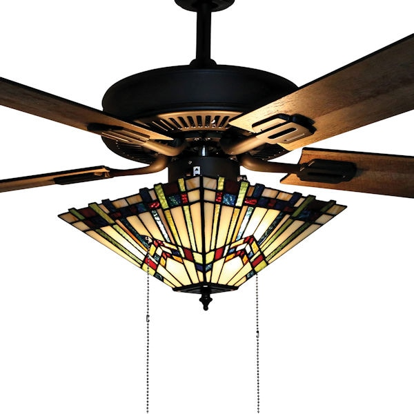 Mission Style Stained Gl Ceiling Fan