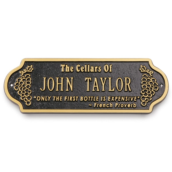 Personalized Wine Cellar Plaque  sc 1 st  Signals & Personalized Wine Cellar Plaque at Signals | HB2422