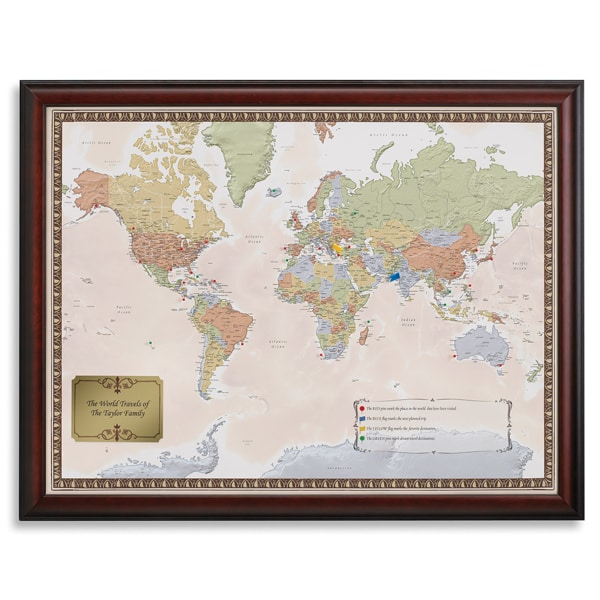 Personalized World Traveler Map Set Framed with Pins at Signals – Personalized World Traveler Map Framed