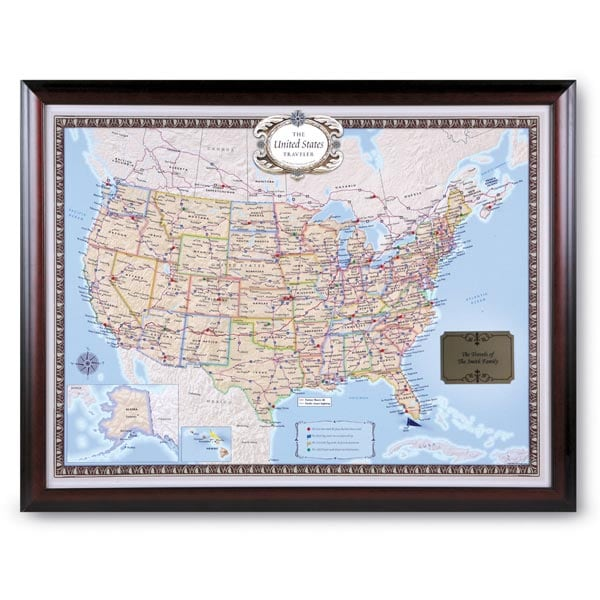 Personalized Usa Map.Personalized Usa Traveler Map Set Framed 5 Reviews 5 Stars