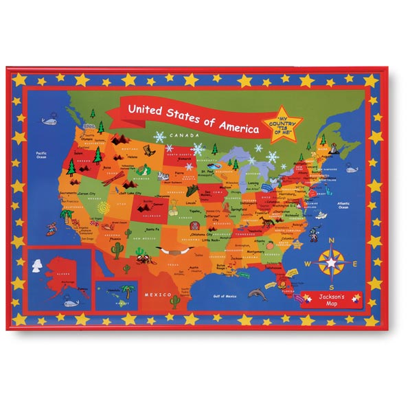 Personalized Usa Map.Child S Map Of The U S A Framed Personalized At Signals Hh5922