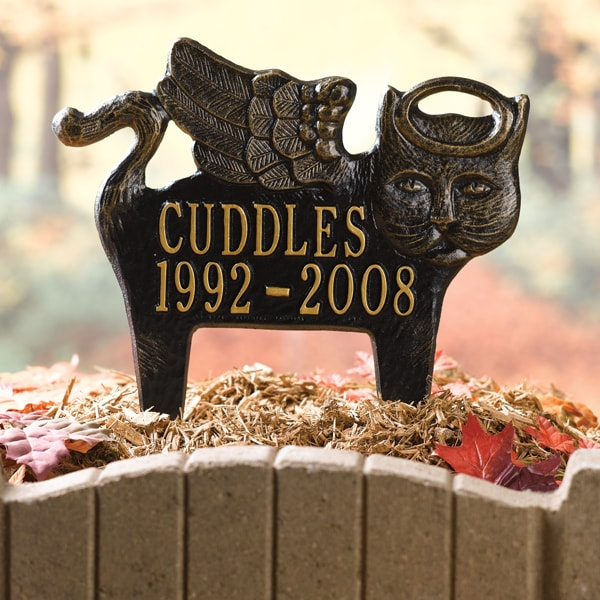 personalized angel pet memorial marker cat signals hh9972