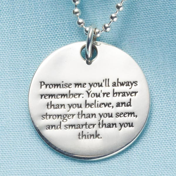 Promise Me Christopher Robin Quote Pendant Sterling Silver