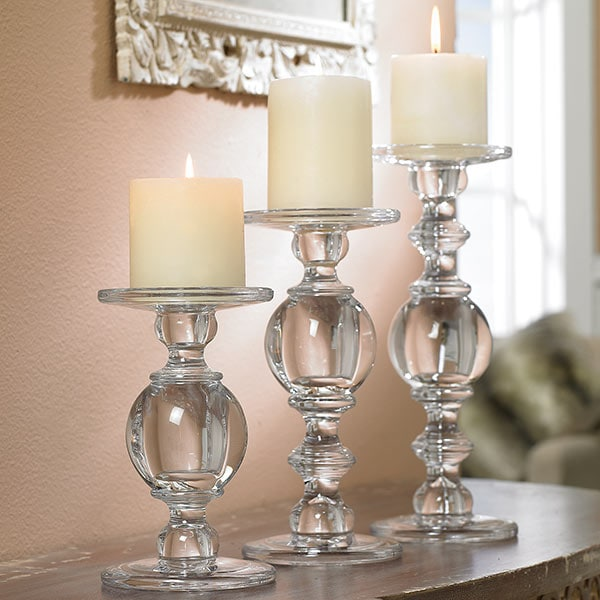 Glass Baluster Candlesticks Set Of 3 25 Reviews 4 96