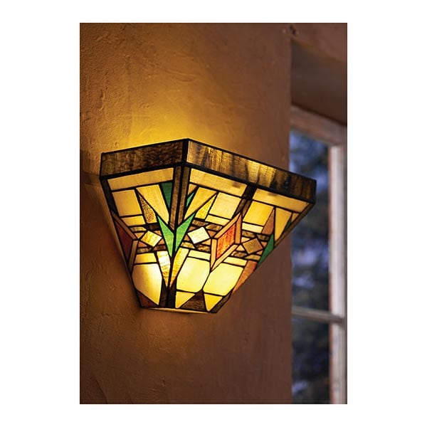 Wall Sconces Stained Glass : Mission Art Glass Wall Sconce in Stained Glass Battery Operated with Wireless Remote Control