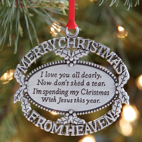 merry christmas from heaven pewter oval ornament with engraving christmas ornament