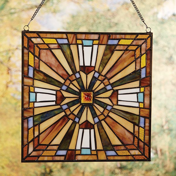 Stained glass cross art in mission style 12 square at for Mission style prints