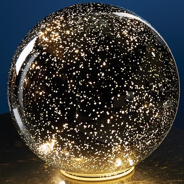Lighted mercury glass sphere silver at signals hr