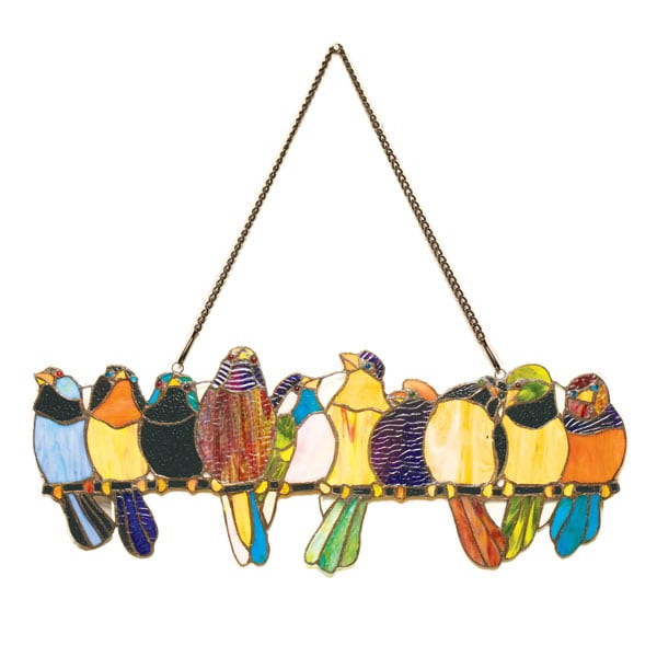 Birds On A Wire Stained Glass Hanging Panel 17 Reviews 465