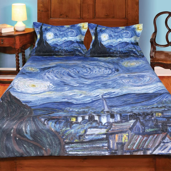 van gogh starry night painting duvet cover and set of 2 shams bedding