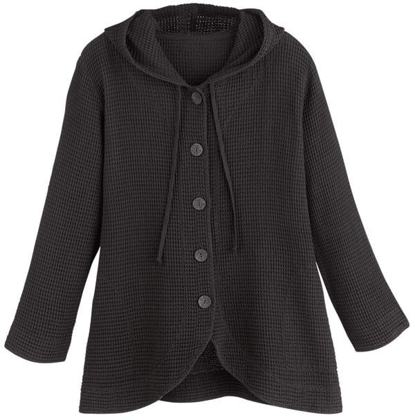 812eefedf Tunic Jacket - Hooded Button-Front Waffle Jacket