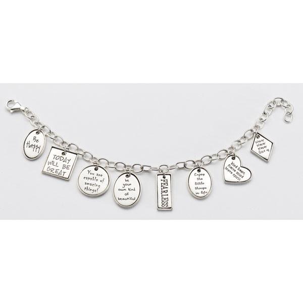 Positivity Charm Bracelet Sterling Silver Inspirational Charms