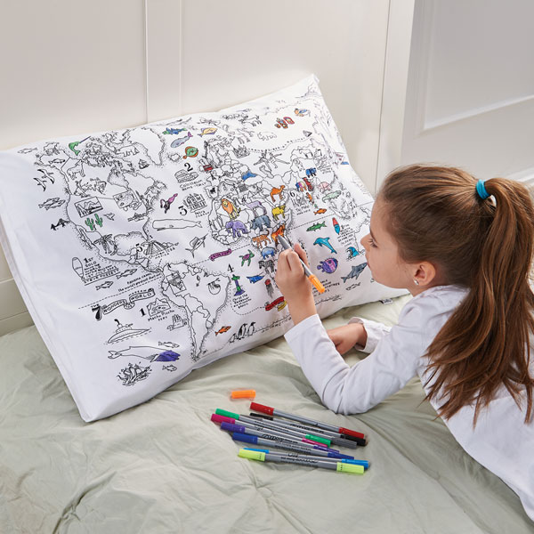 Doodle World Map Pillow Case 1 Review 5 Stars Signals Hx1432