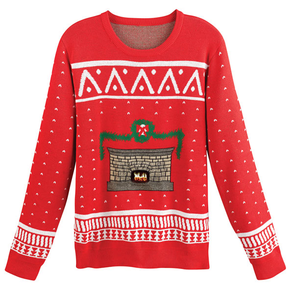 Crackling Fireplace Christmas Sweater At Signals Hx2336