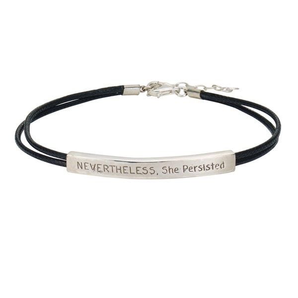 Nevertheless She Persisted Bracelet Inspirational Sterling Silver