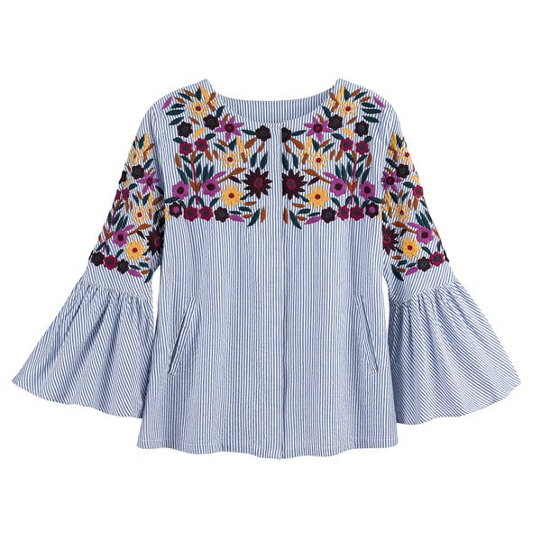 101c5f36c0aa9 Floral Embroidered Bell Sleeve Blouse - Plus Sizes Available