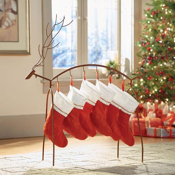 Christmas Stocking Holder Stand.Metal Reindeer Stocking Holder Stand