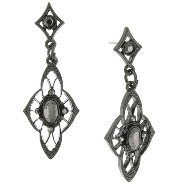 Downton Abbey Pee Faux Jet Drop Earrings