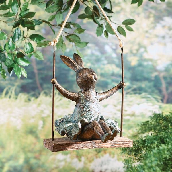 Swinging bunny statue