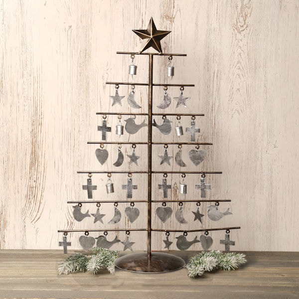 Metal Tabletop Christmas Tree: Star-Topped Metal Tabletop Christmas Tree