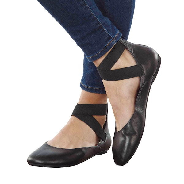 ef12be3eafaa9 Leather Ballet Flats - with Zipper Close