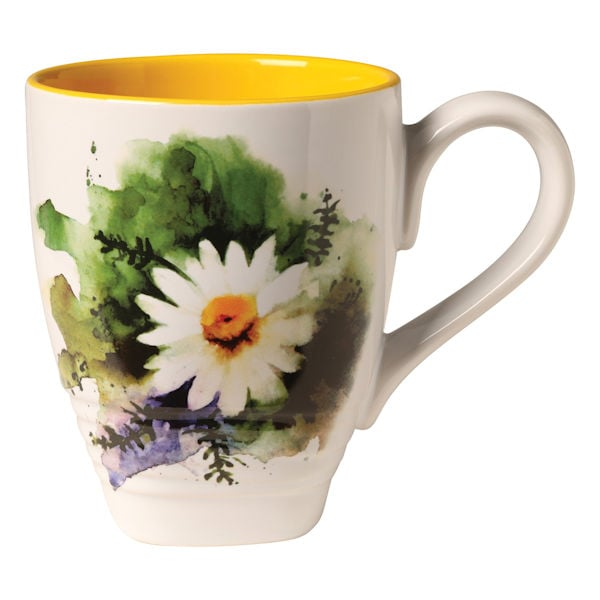 Floral Watercolor Ceramic Stoneware Mugs