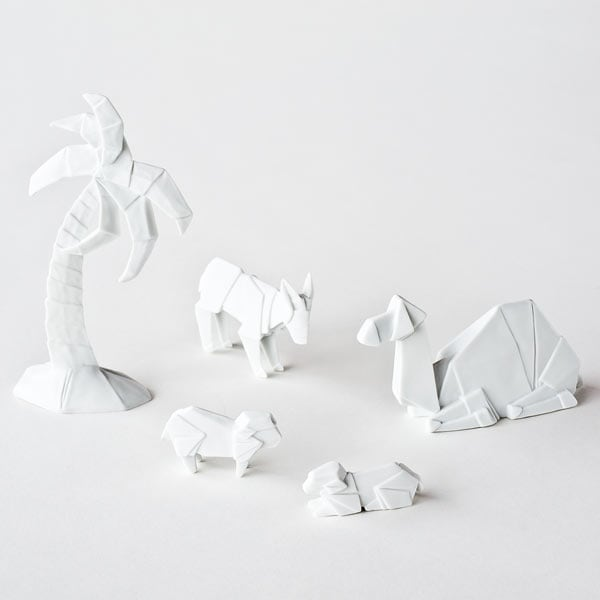 Origami Nativity Figures Glazed Porcelain Camel Donkey Sheep
