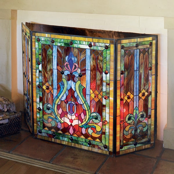 stained glass fireplace screen Stained Glass Fireplace Screen | 18 Reviews | 4.89 Stars | Signals  stained glass fireplace screen