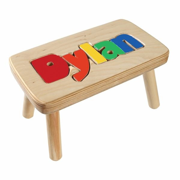 Personalized children s wooden puzzle step stool
