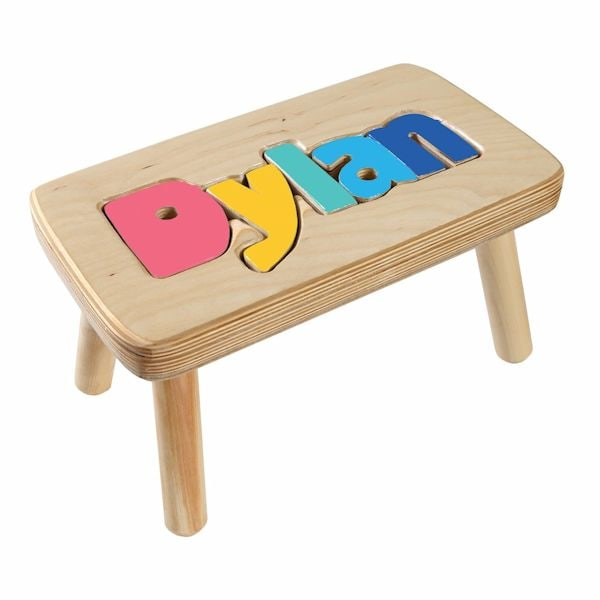 Personalized Children S Wooden Puzzle Stool 6 8 Letters