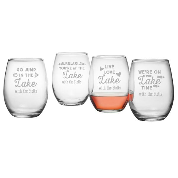 personalized lake house stemless wine glasses set of 4 signals