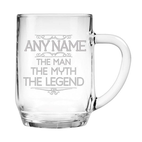 Personalized Man Myth Legend Large Glass Mug Signals Ra0902