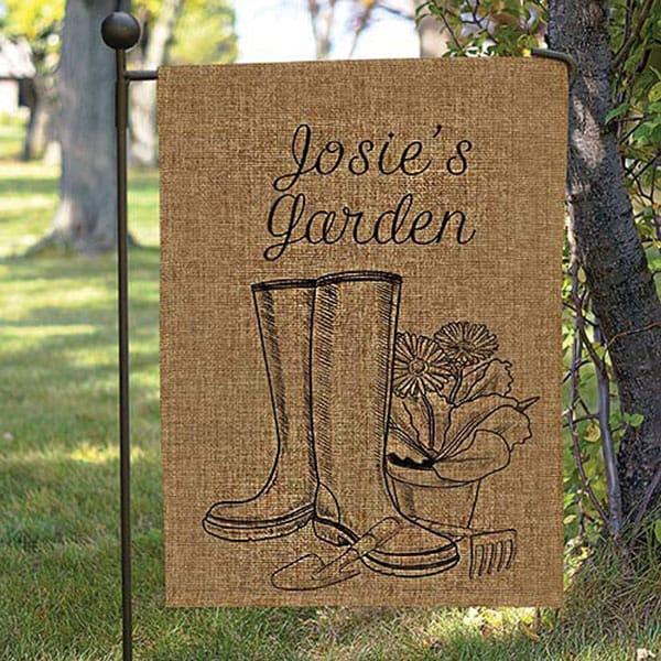 Merveilleux Personalized Garden Boots Burlap Garden Flag