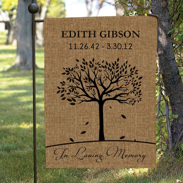 Incroyable Personalized In Loving Memory Burlap Garden Flag With Flag Pole