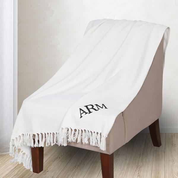 monogrammed ivory throw blanket signals ra4558