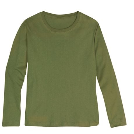 Olive Ladies Long Sleeve T-Shirt