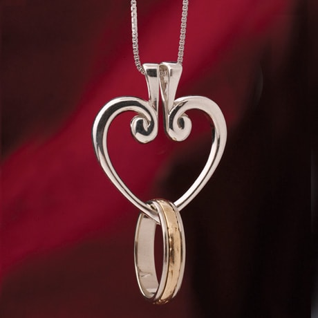 sterling hinged heart ring pendant on box chain at signals