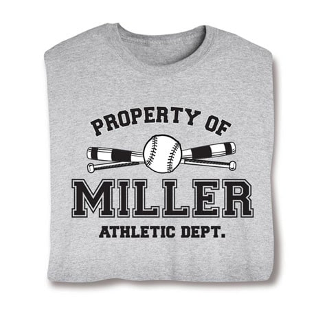 Personalized Property of 'Your Name' Softball T-Shirt