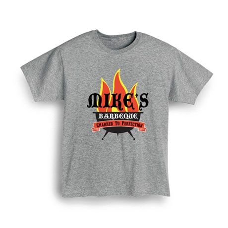 """Personalized """"Your Name"""" Barbeque Grillin' Flames Shirt"""