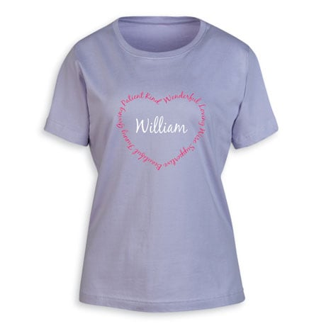 """Personalized """"Your Name"""" Attributes Heart Shirt"""