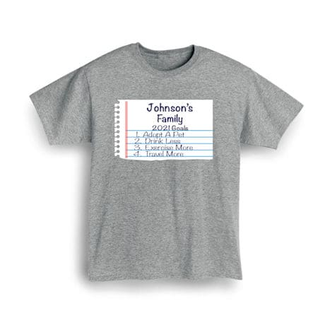 Personalized 'Your Name'  Goal Shirt - Notebook Family Goals