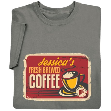 Personalized 'Your Name' Fresh Brewed Coffee Retro T-Shirt