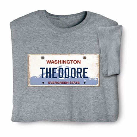 Personalized State License Plate Shirts - Washington
