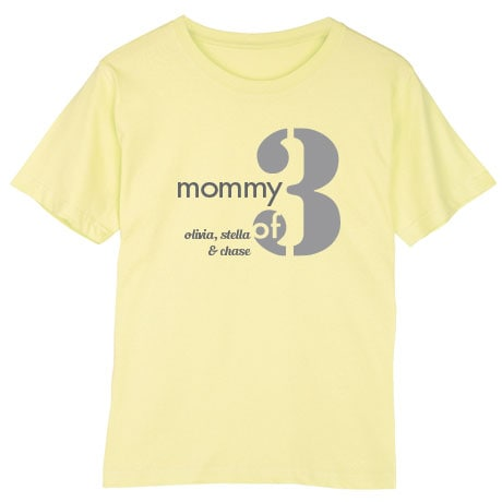 Personalized Mommy of 3 T-Shirt