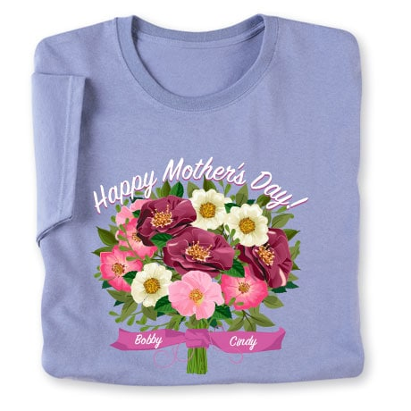 Personalized Two Name Mother's Day Floral Arrangement T-Shirt