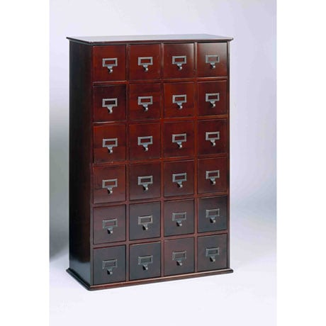 Library Style CD Store Cabinet with 24 Drawers