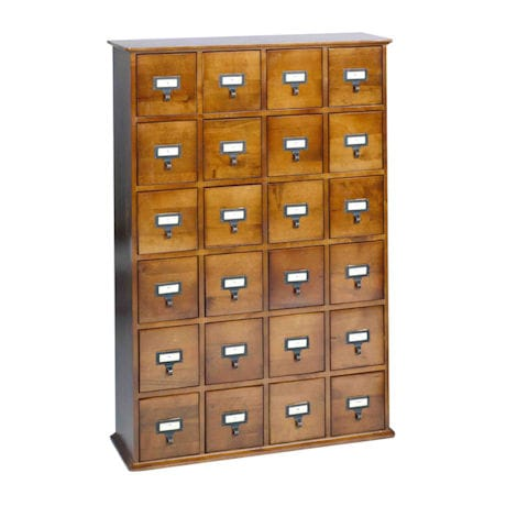 Library Catalog Media Storage Cabinet - 24 Drawer - Stores 456 CD's or 192 DVD's